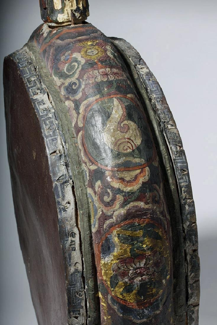 19th C. Tibetan Painted Wood / Leather Temple Drum - 7