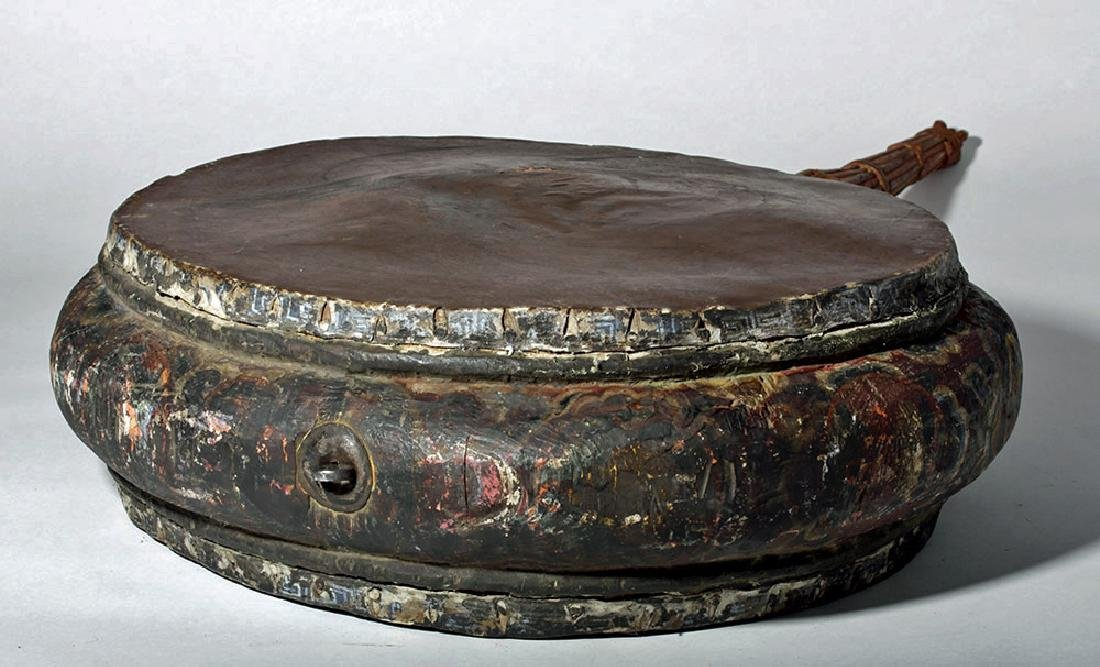 19th C. Tibetan Painted Wood / Leather Temple Drum - 8