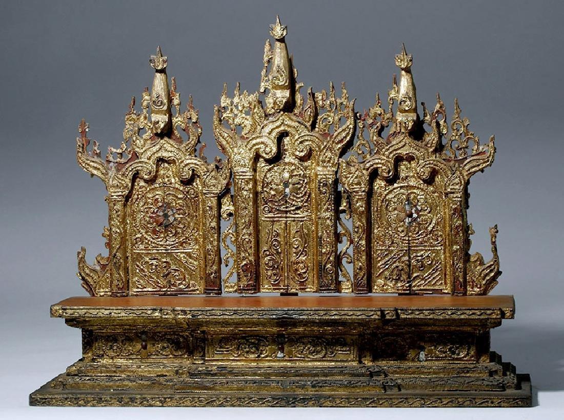 19th C. Burmese Gilded Wood Shrine Platform