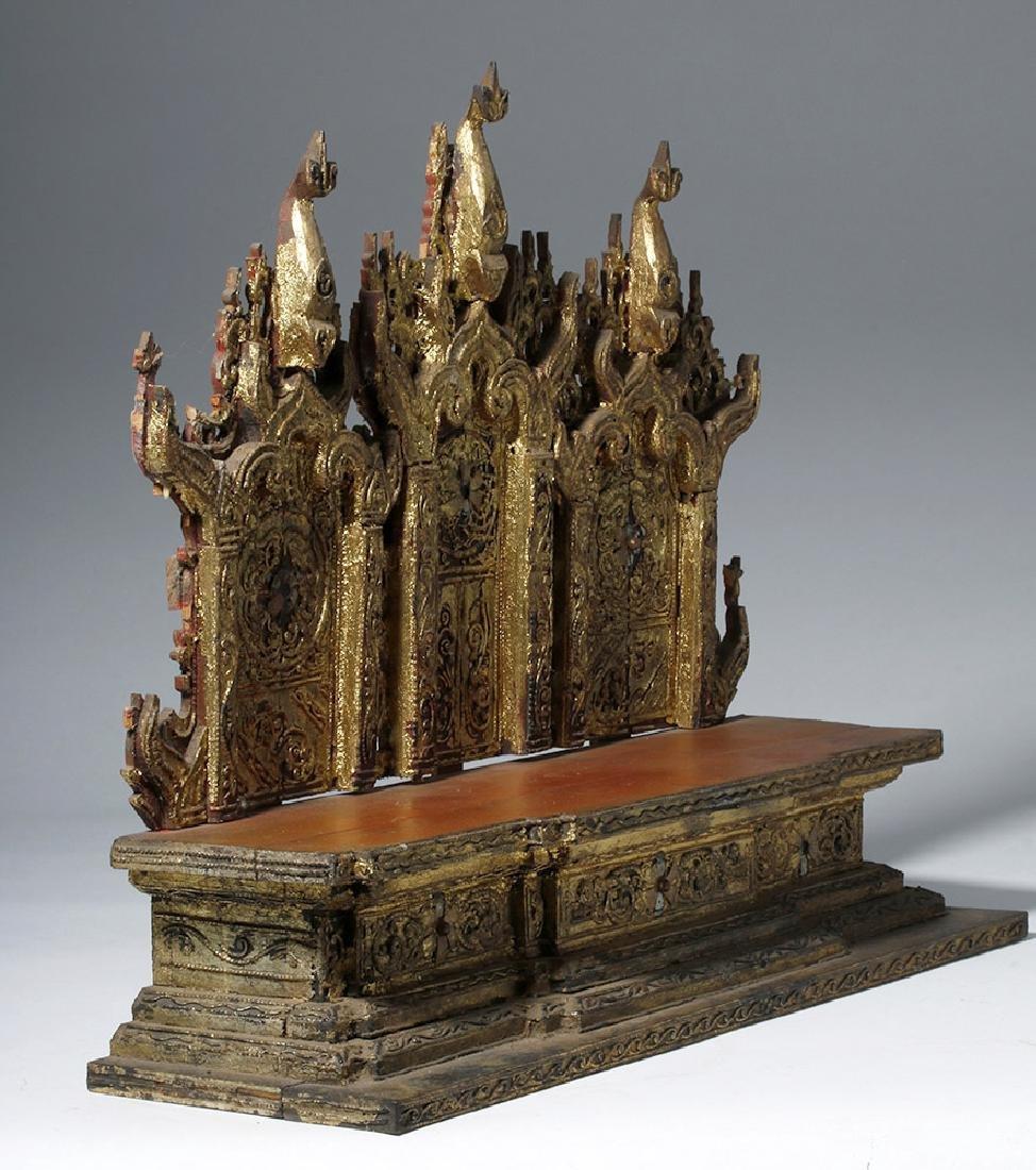 19th C. Burmese Gilded Wood Shrine Platform - 4