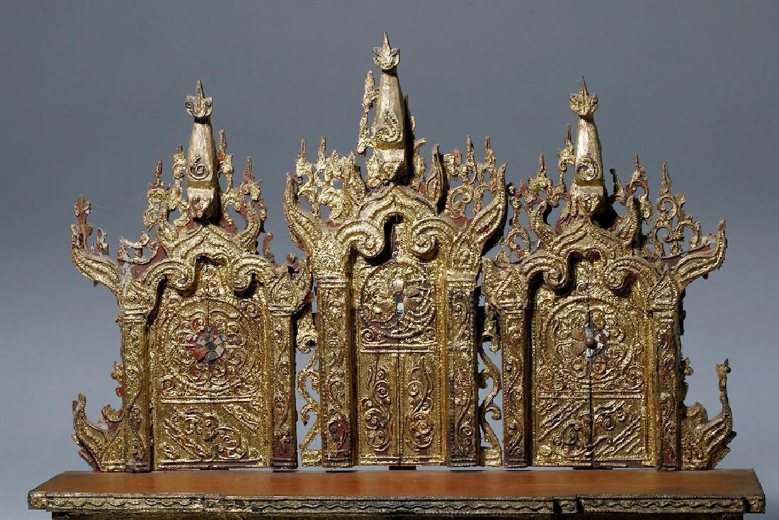 19th C. Burmese Gilded Wood Shrine Platform - 5