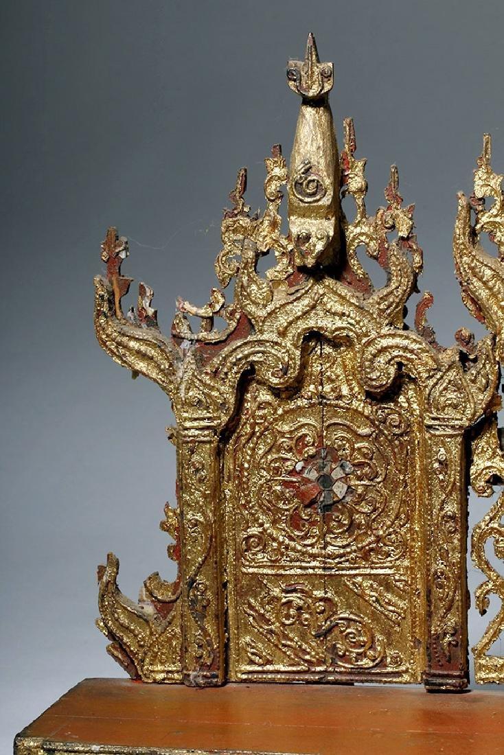19th C. Burmese Gilded Wood Shrine Platform - 7