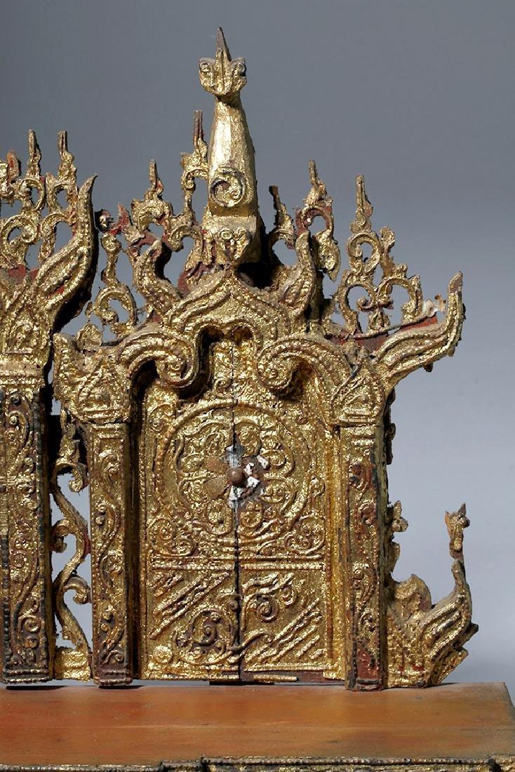 19th C. Burmese Gilded Wood Shrine Platform - 8