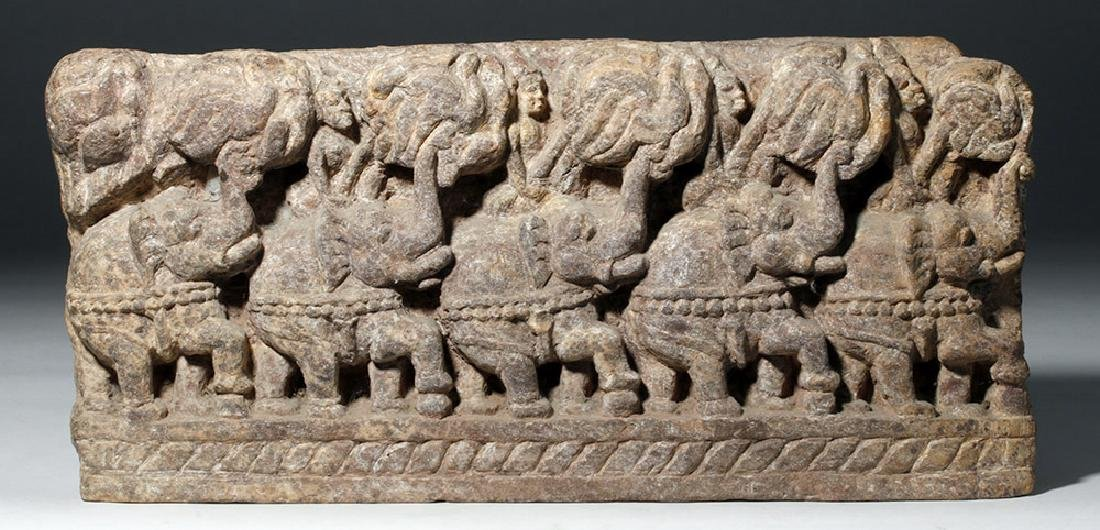 19th C. Thai Stone Frieze - Elephants