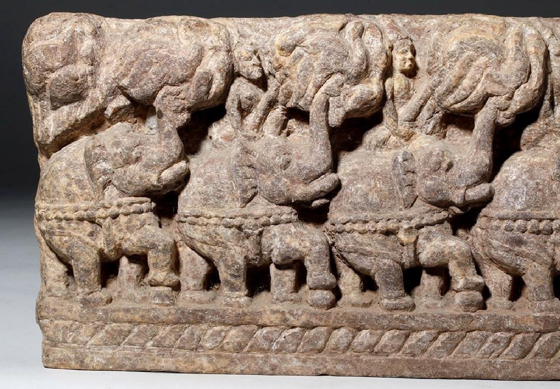 19th C. Thai Stone Frieze - Elephants - 2