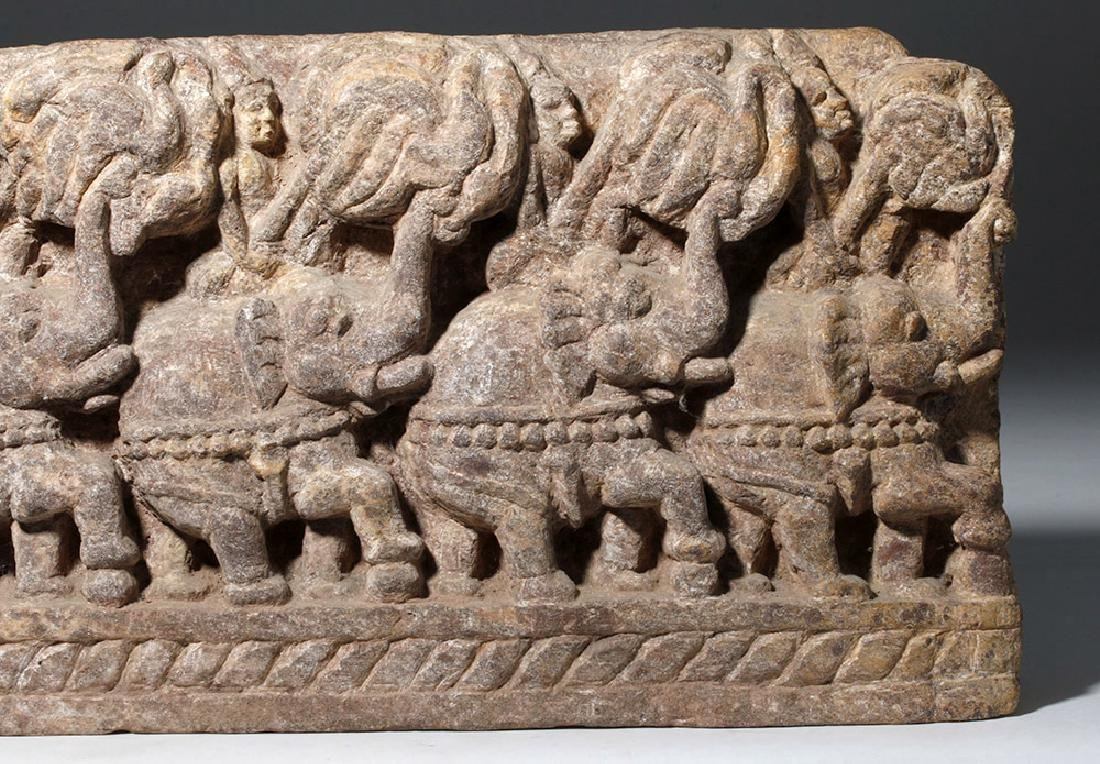 19th C. Thai Stone Frieze - Elephants - 3
