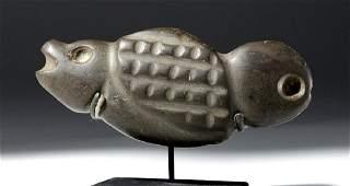 Mezcala Green Stone Reptilian Fish Amulet