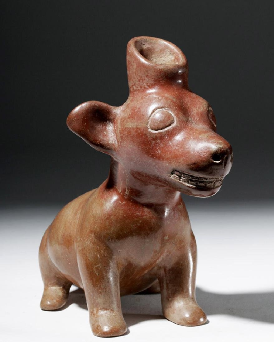 Adorable Pottery Colima Redware Seated Dog - 4