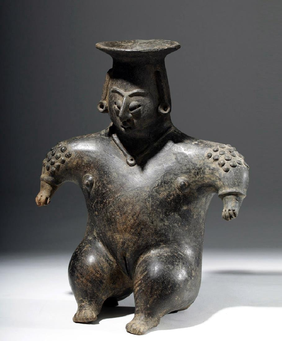 Colima Brownware Figural Vessel w/ Black Striations