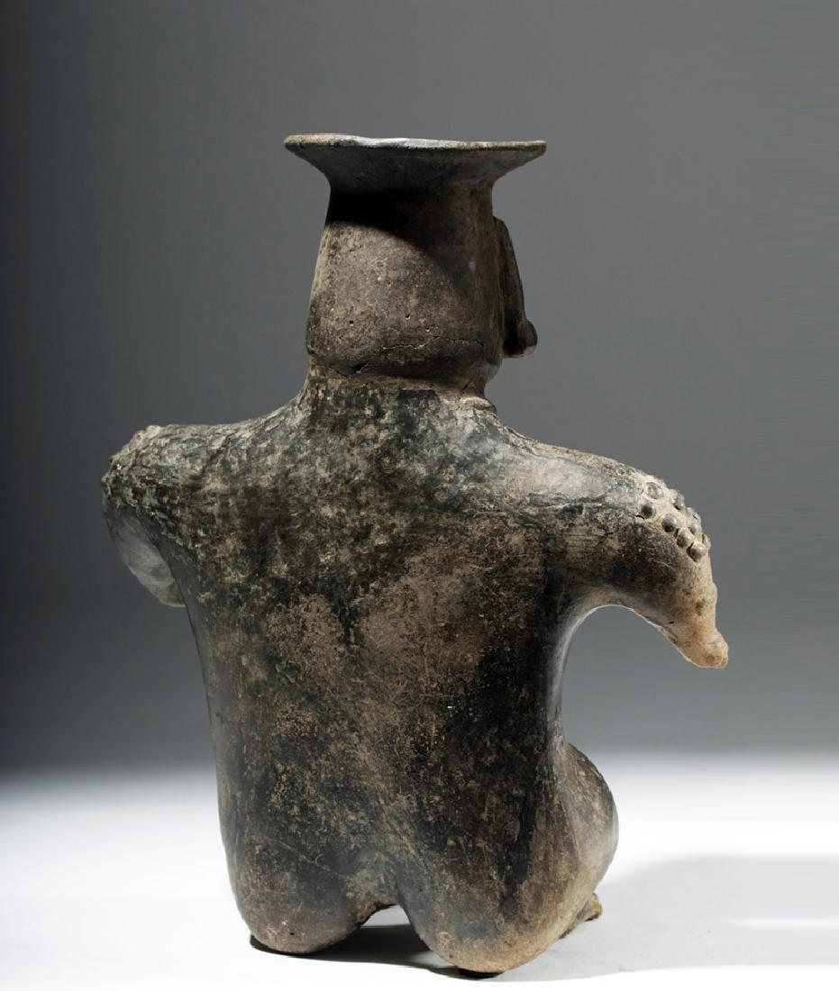 Colima Brownware Figural Vessel w/ Black Striations - 3