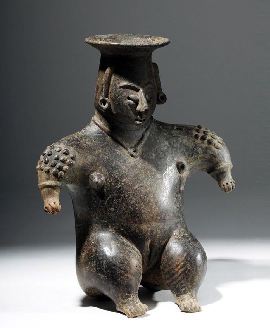Colima Brownware Figural Vessel w/ Black Striations - 4