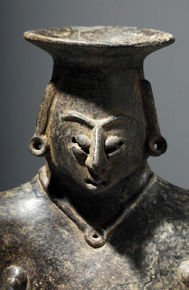 Colima Brownware Figural Vessel w/ Black Striations - 6