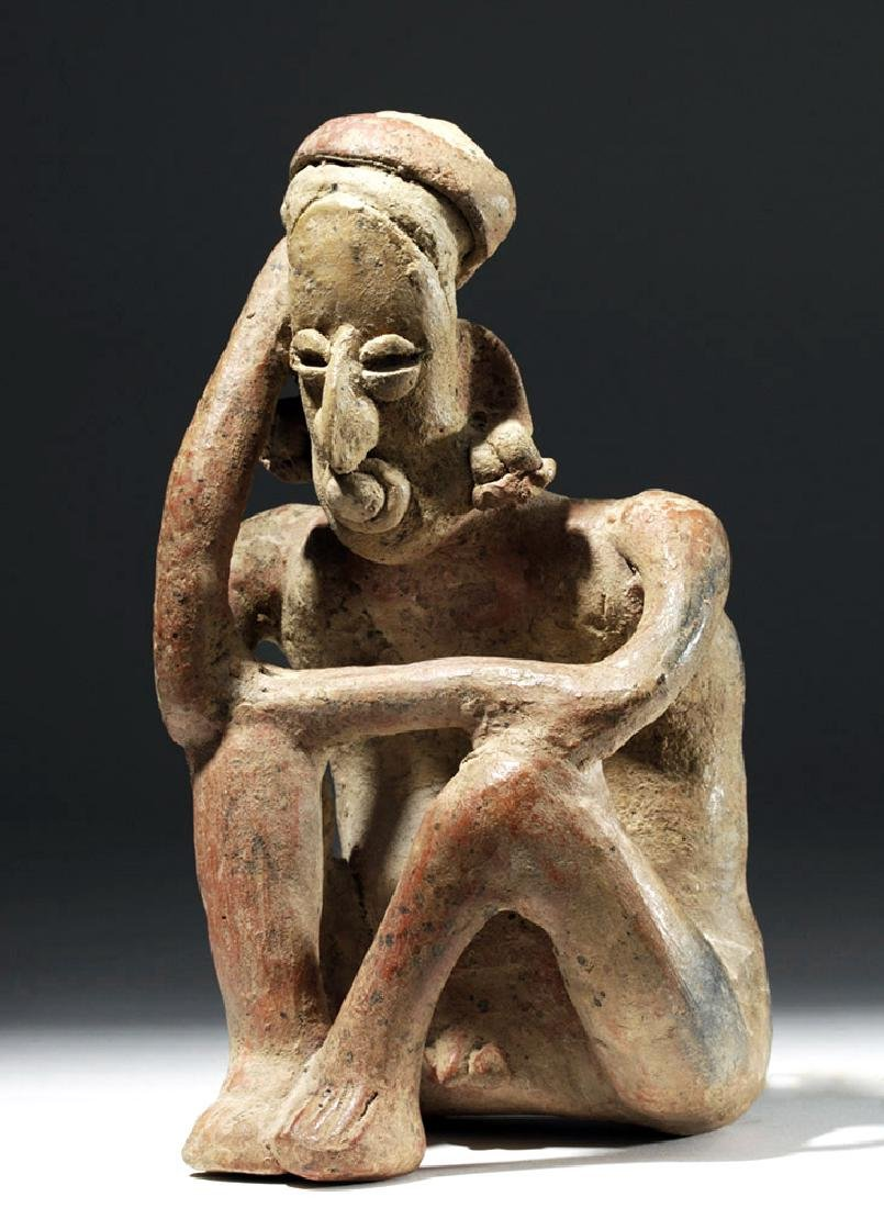 Jalisco Pottery Seated Pensador w/ Bubble Mouth
