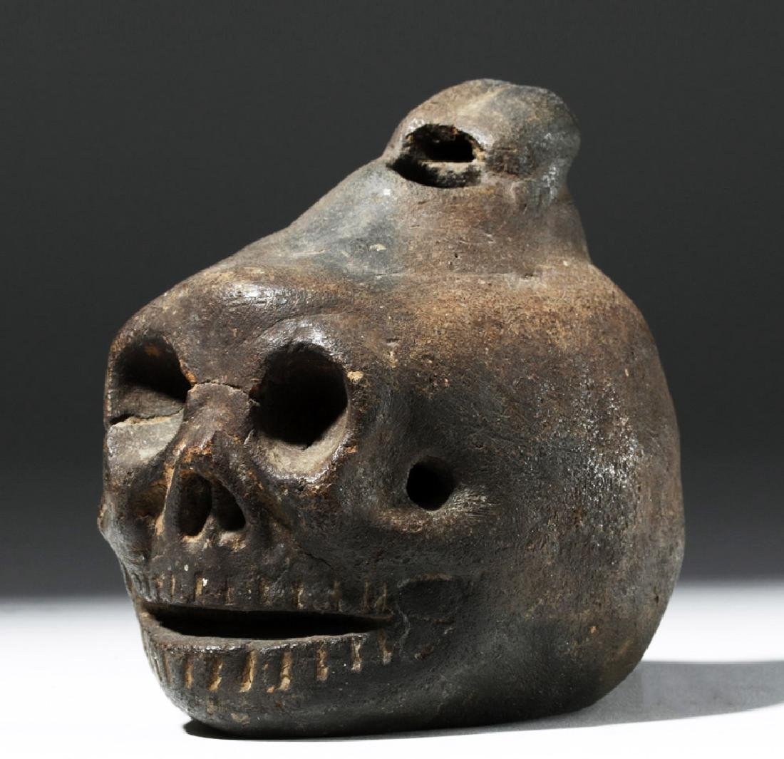 Wonderfully Macabre Veracruz Pottery Skull Ocarina