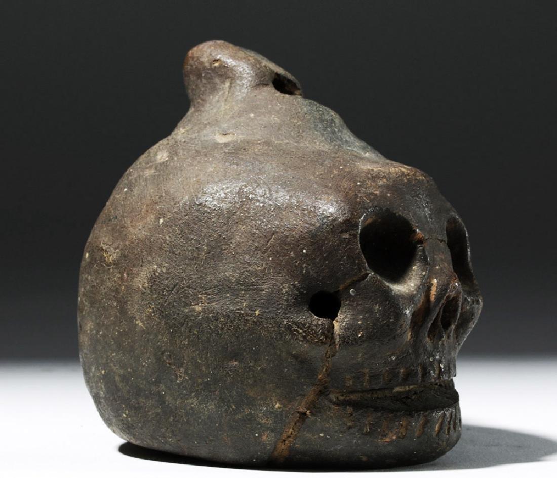 Wonderfully Macabre Veracruz Pottery Skull Ocarina - 4