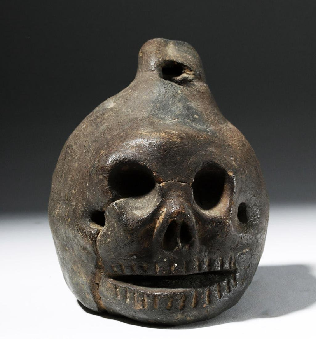 Wonderfully Macabre Veracruz Pottery Skull Ocarina - 5