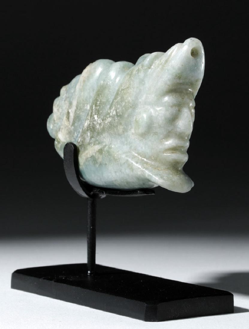 Mayan Jade Pendant - Deity Emerging from Snail - 4