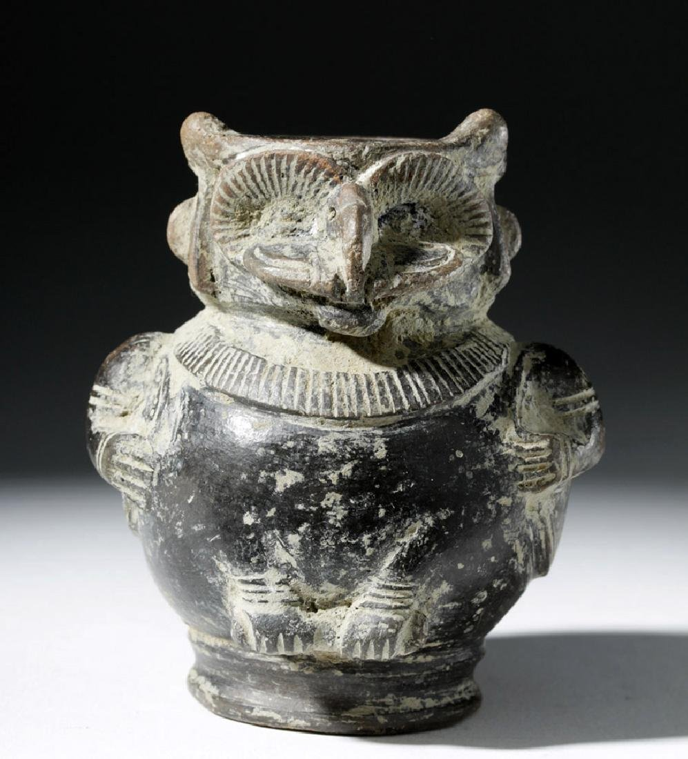 Tairona Blackware Owl / Shaman Effigy Jar - 5