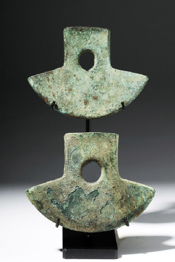 Pair Inca Copper Axe Heads - Nicely Displayed!