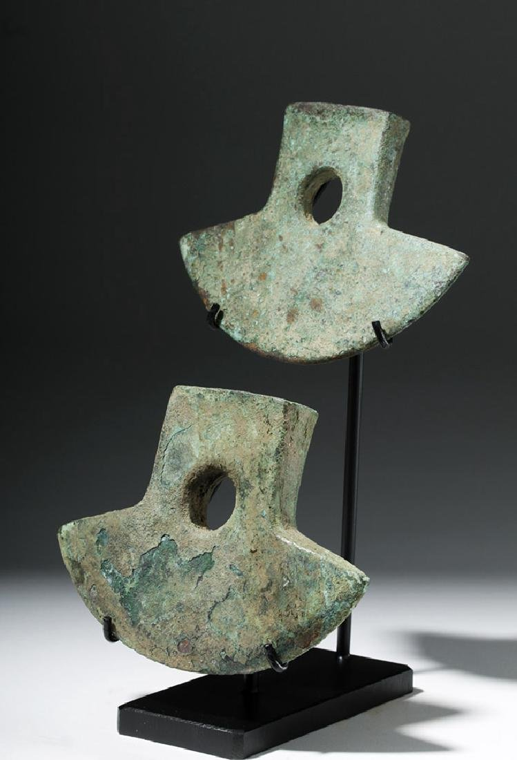 Pair Inca Copper Axe Heads - Nicely Displayed! - 2