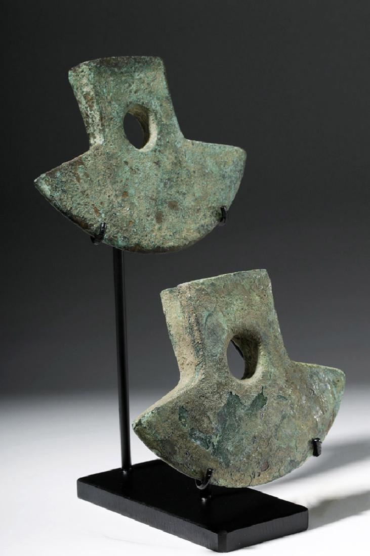 Pair Inca Copper Axe Heads - Nicely Displayed! - 5