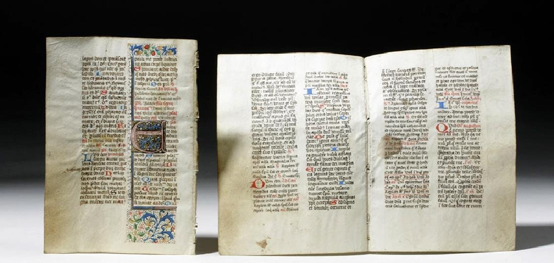 Three 15th C. Illuminated Book of Hours Pages