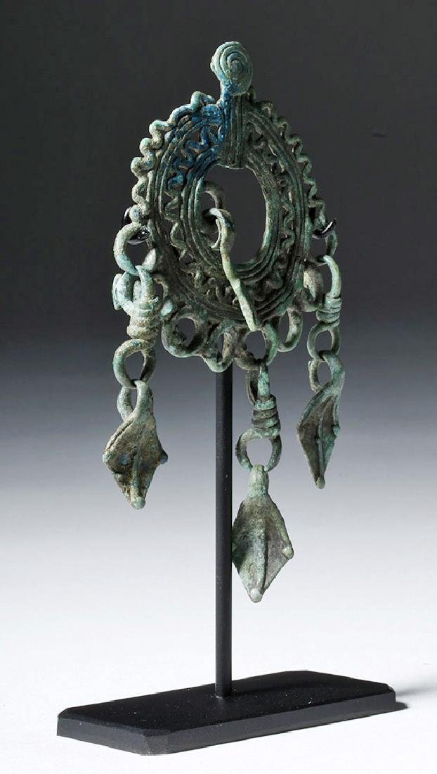 9th C. Siberian Bronze Pendant - Rustling Crow Feet - 4