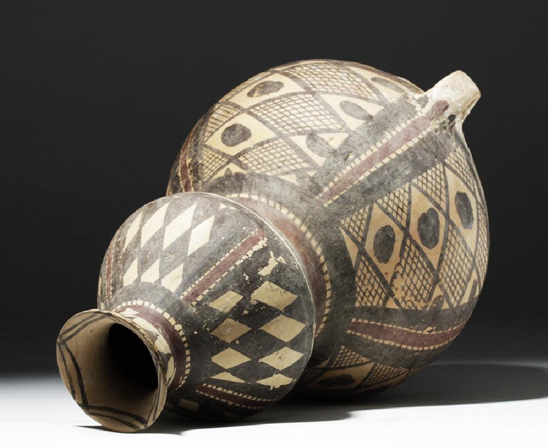 Chinese Neolithic Polychrome Vessel - Rare Form - 7