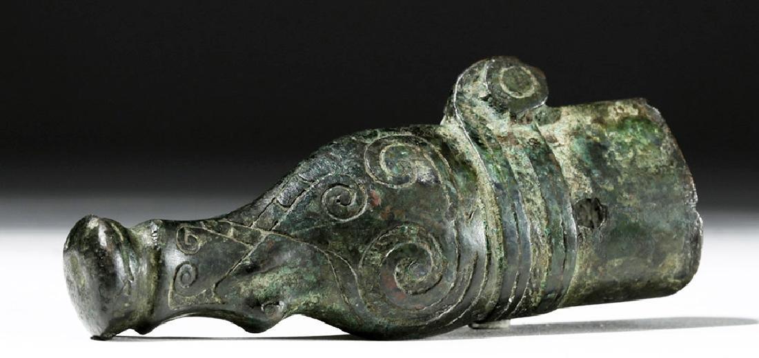 Chinese Warring States Bronze Ferrule - Elephant Head - 4