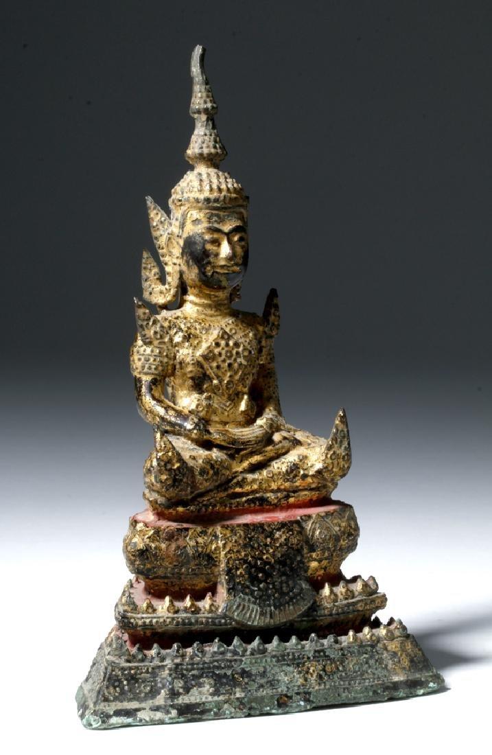Late 17th C. Thai Bronze Gilded Bronze Budda