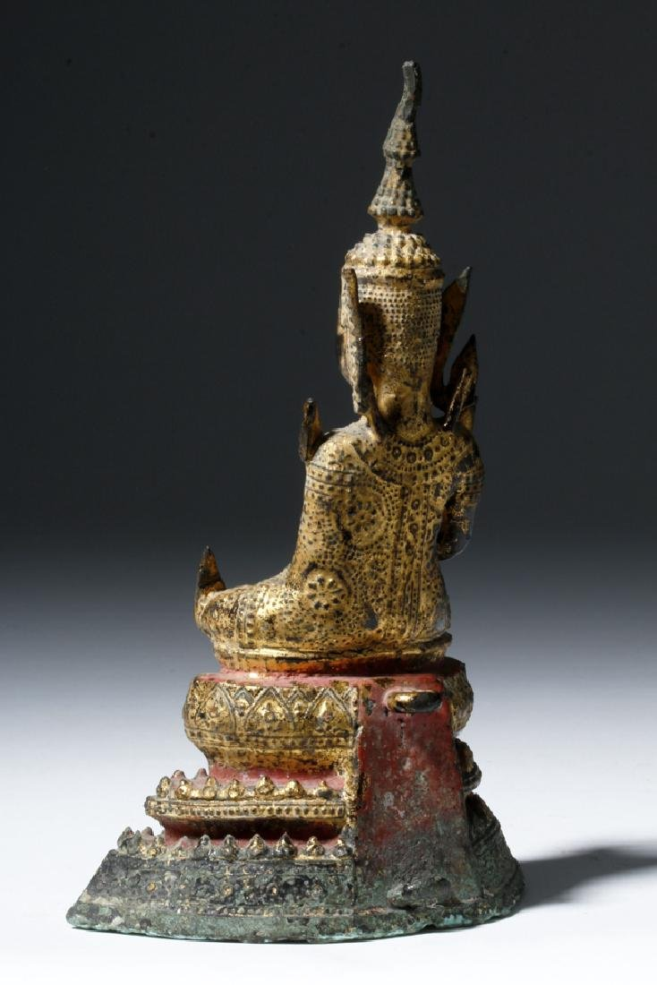Late 17th C. Thai Bronze Gilded Bronze Budda - 2