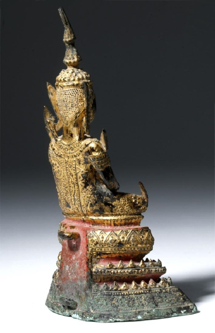 Late 17th C. Thai Bronze Gilded Bronze Budda - 3