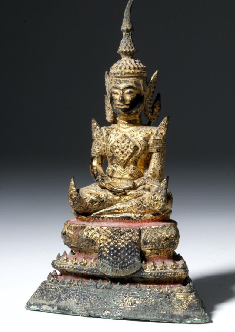 Late 17th C. Thai Bronze Gilded Bronze Budda - 4