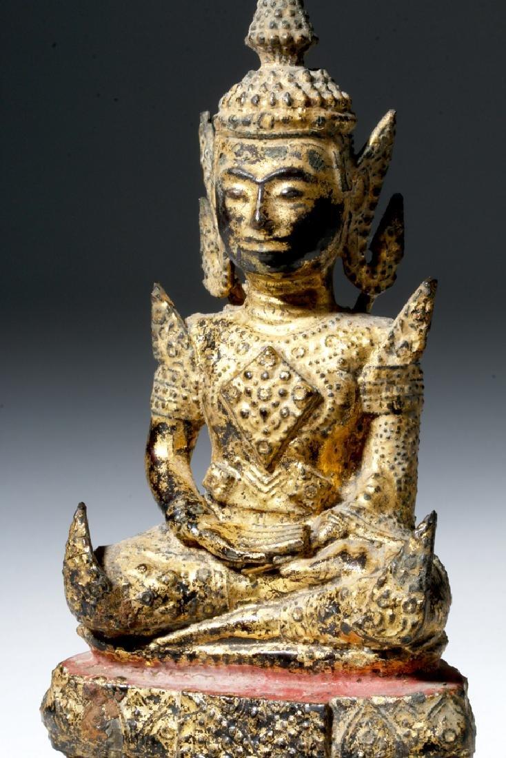 Late 17th C. Thai Bronze Gilded Bronze Budda - 5