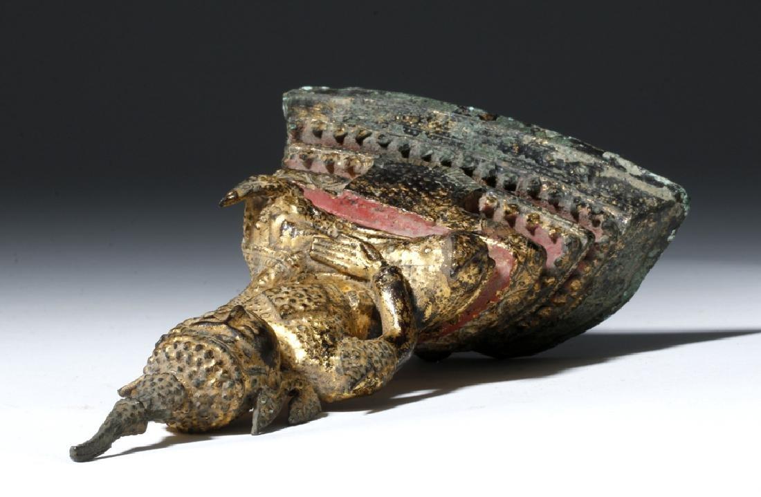 Late 17th C. Thai Bronze Gilded Bronze Budda - 6