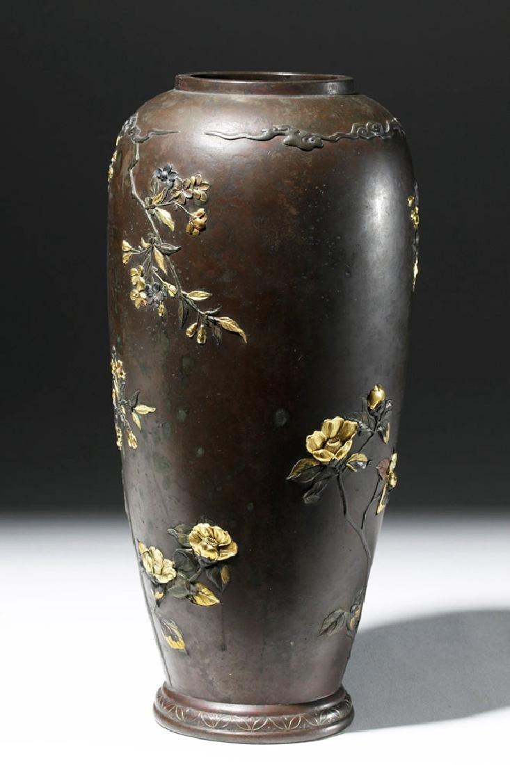 Japanese Meiji Bronze Vase w/ Gilded Silver Detailing - 2