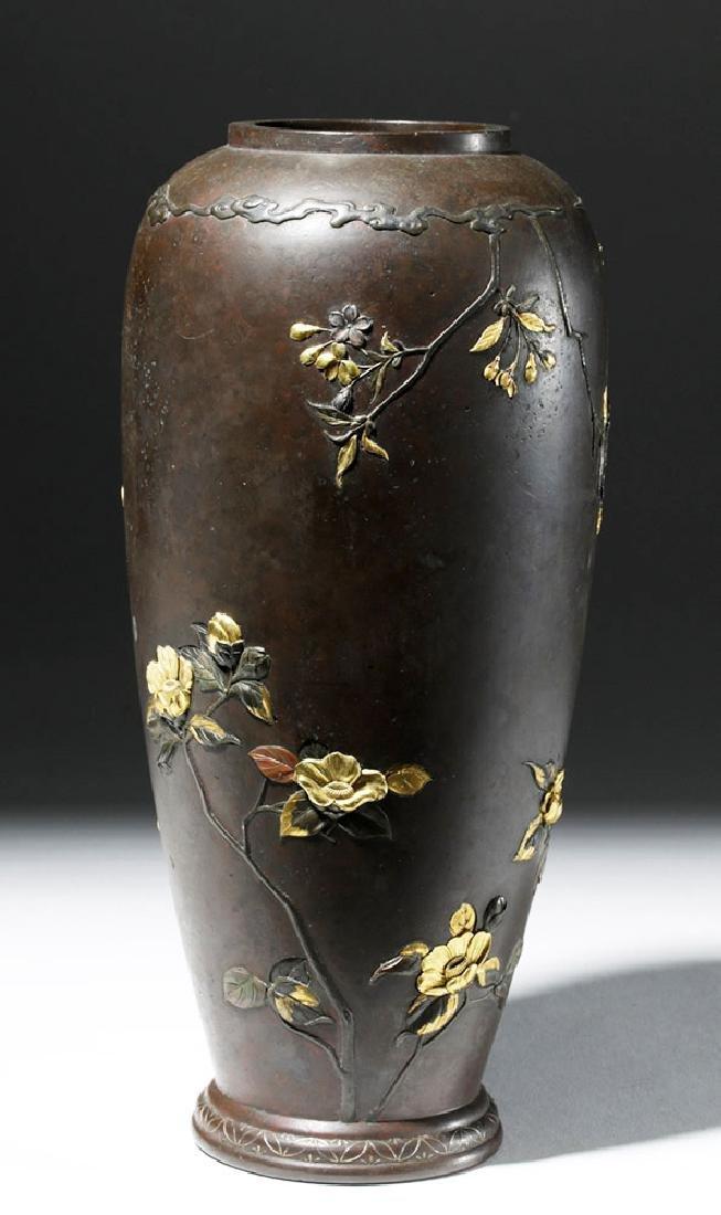 Japanese Meiji Bronze Vase w/ Gilded Silver Detailing - 3