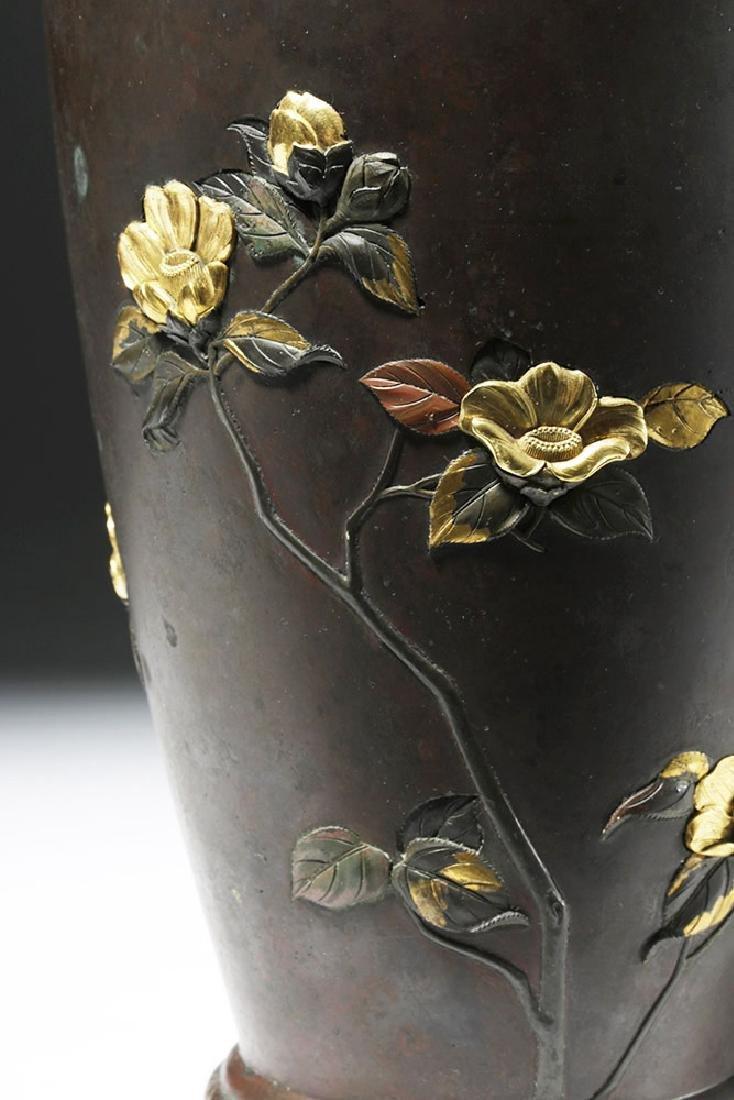 Japanese Meiji Bronze Vase w/ Gilded Silver Detailing - 6