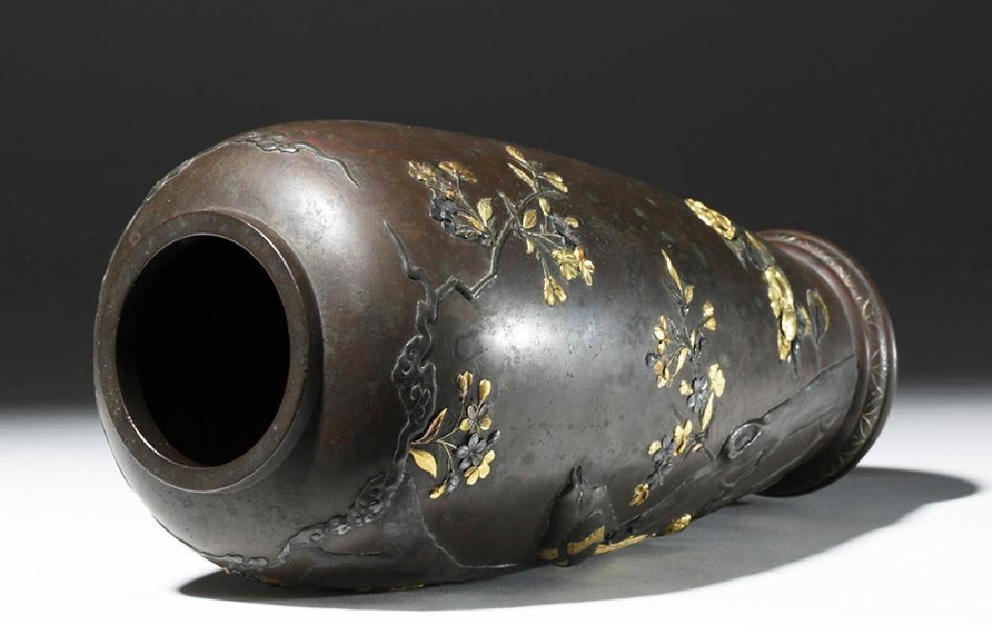Japanese Meiji Bronze Vase w/ Gilded Silver Detailing - 7