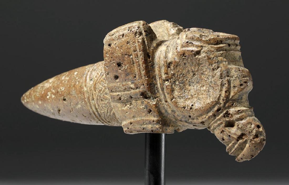 Large Costa Rican Brown Stone Mace Head - Bird Form - 2