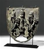 19th C. Benin Bronze Wall Plaque - King & Attendants