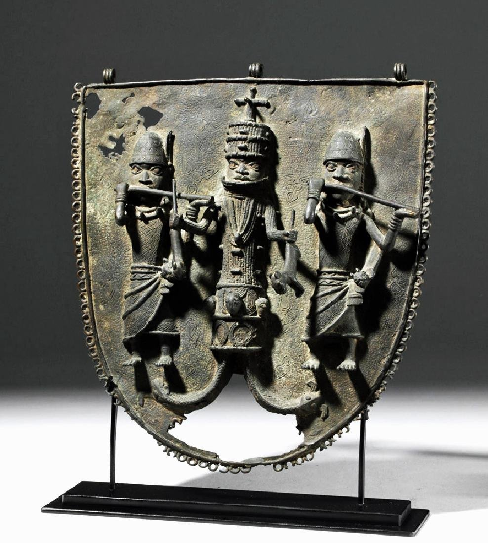 19th C. Benin Bronze Wall Plaque - King & Attendants