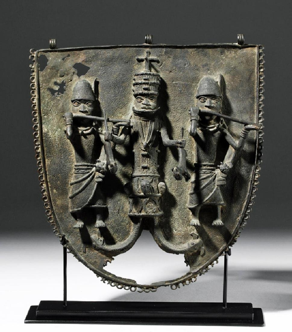 19th C. Benin Bronze Wall Plaque - King & Attendants - 5