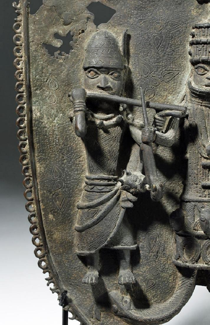 19th C. Benin Bronze Wall Plaque - King & Attendants - 6