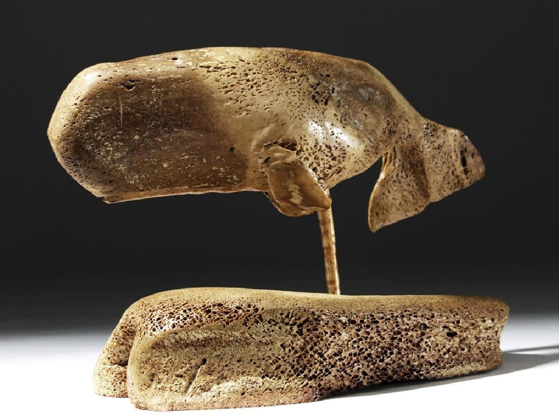 19th C. North Atlantic Bone Carving of Whale - 2