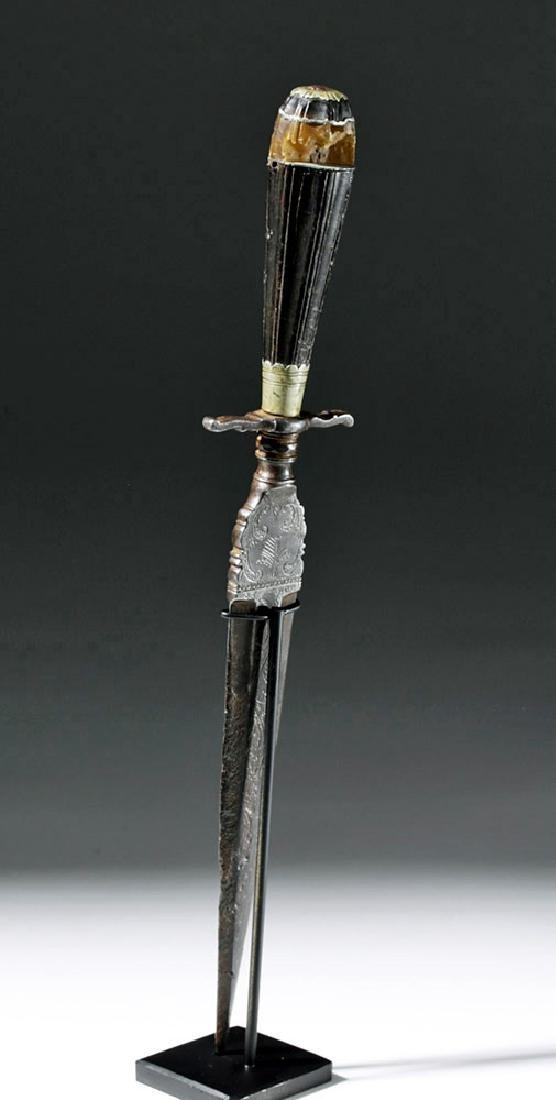 16th C. European Dagger - Amber, Steel & Horn - 2