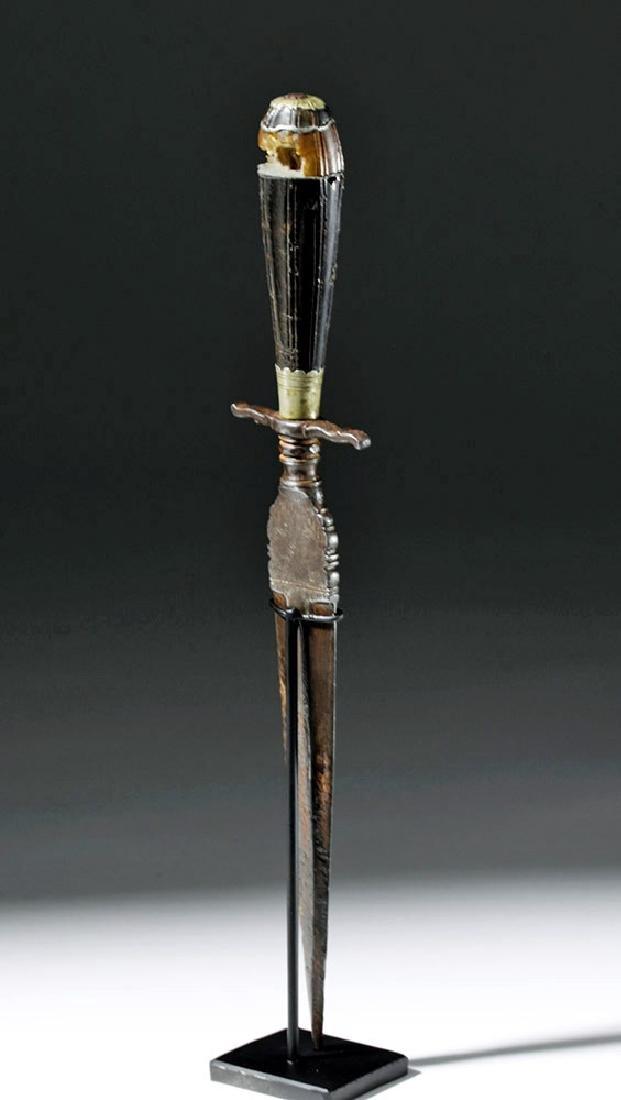 16th C. European Dagger - Amber, Steel & Horn - 3
