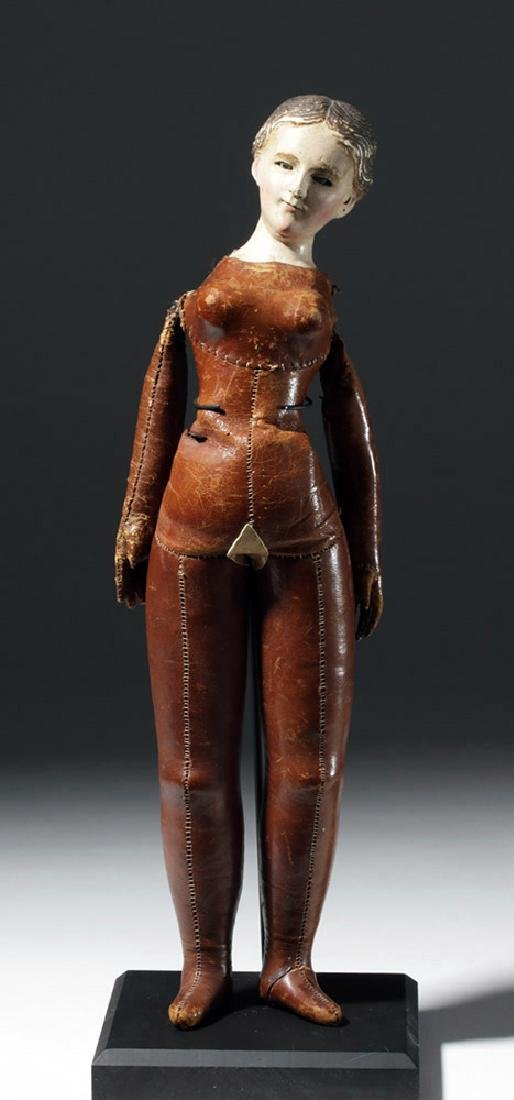 19th C. Mexican Santo w/ Leather Body - Santa Maria