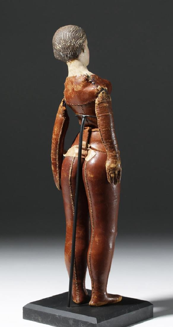 19th C. Mexican Santo w/ Leather Body - Santa Maria - 3