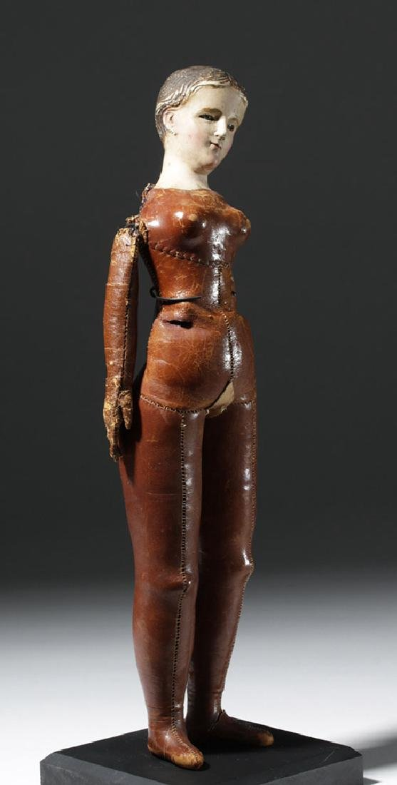 19th C. Mexican Santo w/ Leather Body - Santa Maria - 4